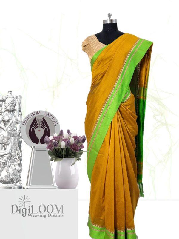 Digiloom Bengal Handloom Cotton Silk Saree in Mehandi Green Colour 26