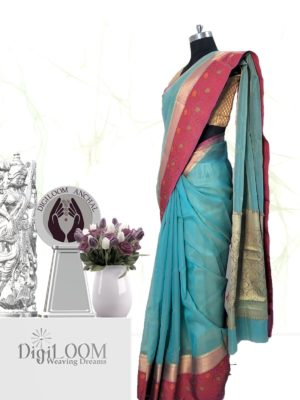 Handloom Kota Silk Saree in Aqua Blue Colour 2