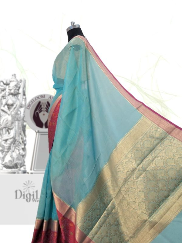 Handloom Kota Silk Saree in Aqua Blue Colour 4