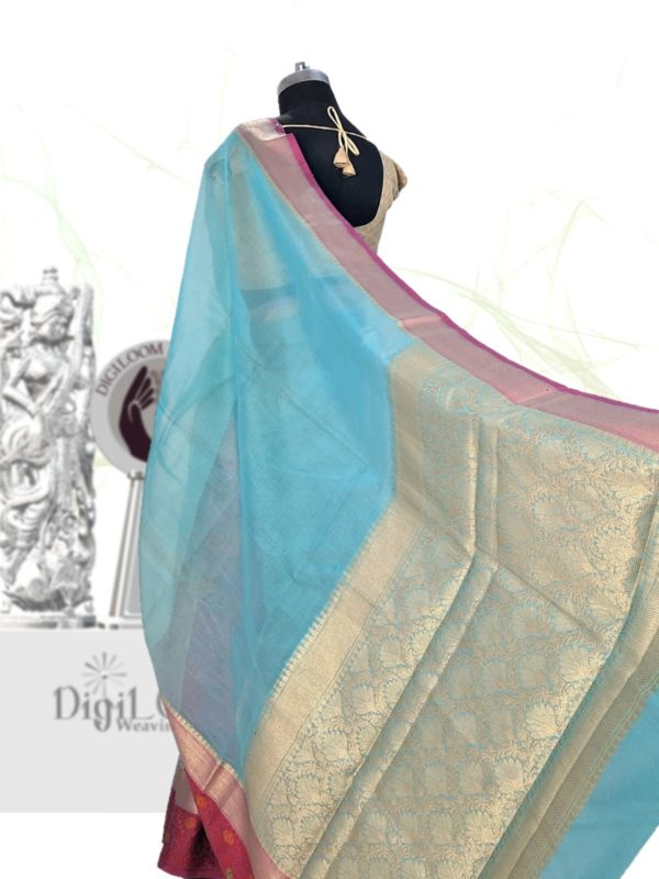 Handloom Kota Silk Saree in Aqua Blue Colour 5
