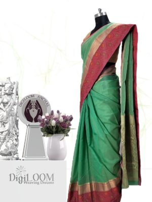 Handloom Kota Silk Saree in Aqua Green Colour 2