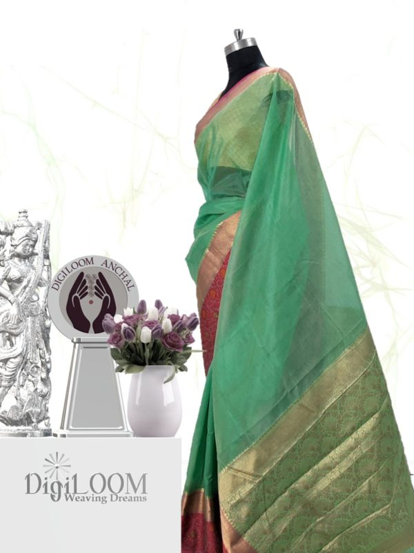 Handloom Kota Silk Saree in Aqua Green Colour 3