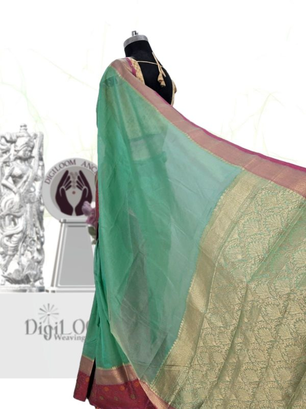 Handloom Kota Silk Saree in Aqua Green Colour 5