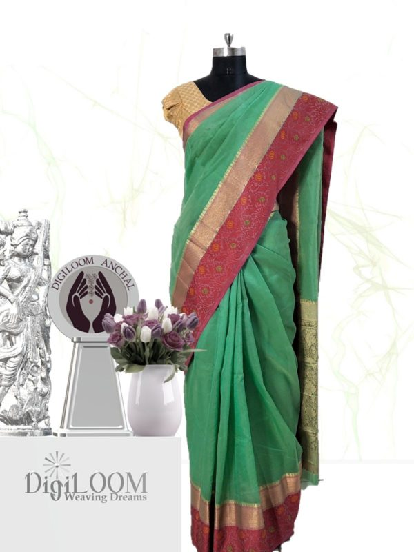 Handloom Kota Silk Saree in Aqua Green Colour