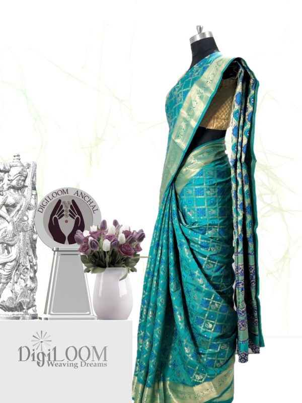 Handloom Patola Silk Saree in Aqua Blue Colour 2