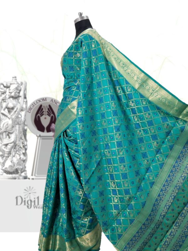 Handloom Patola Silk Saree in Aqua Blue Colour 4