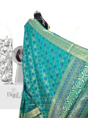 Handloom Patola Silk Saree in Aqua Blue Colour 5