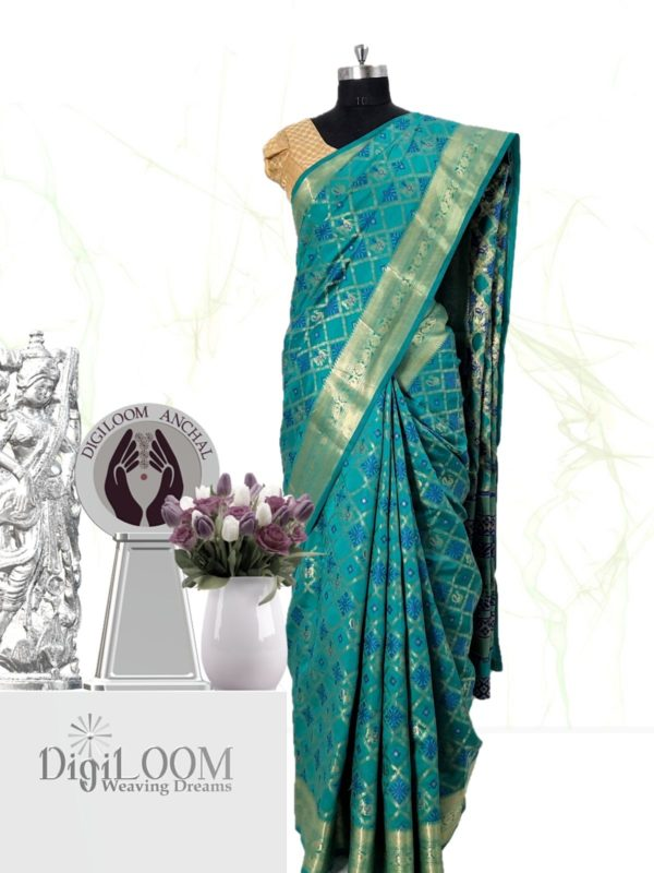 Handloom Patola Silk Saree in Aqua Blue Colour