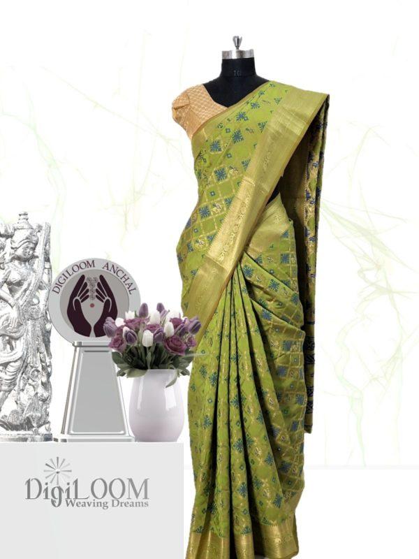 Handloom Patola Silk Saree in Citrus Green Colour by Digiloom Sarees 1