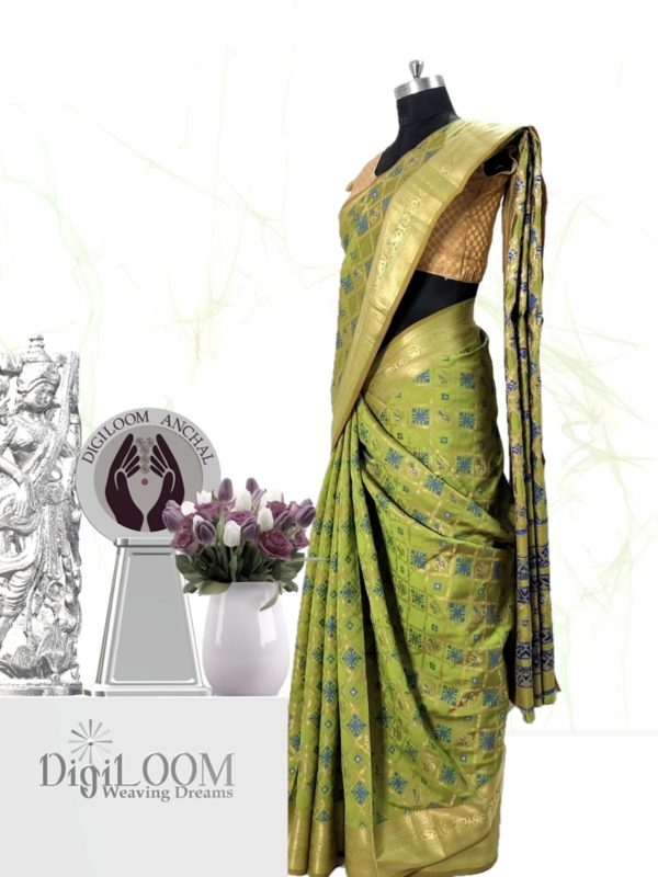 Handloom Patola Silk Saree in Citrus Green Colour by Digiloom Sarees 2