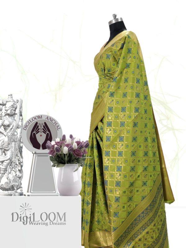 Handloom Patola Silk Saree in Citrus Green Colour by Digiloom Sarees 3