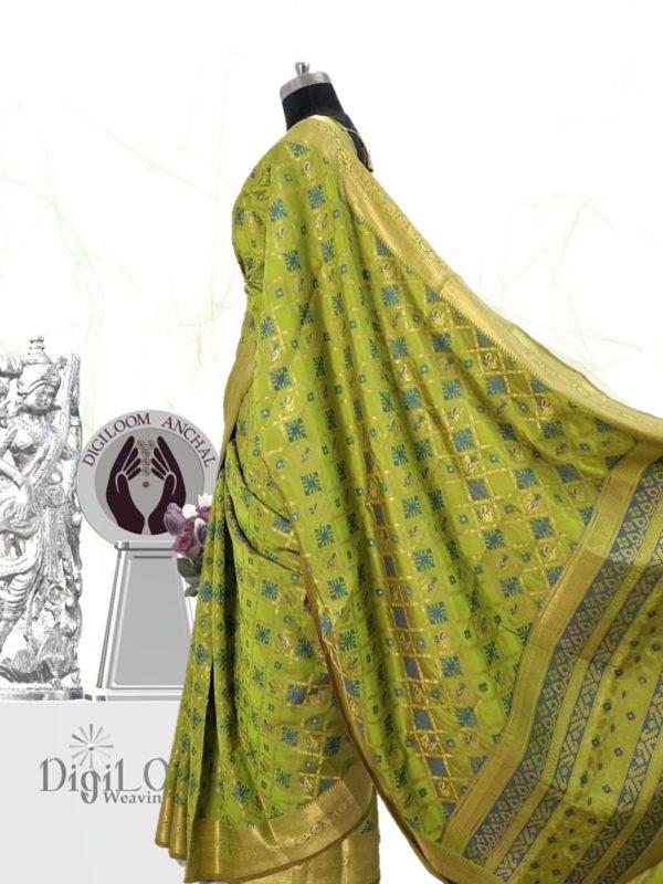 Handloom Patola Silk Saree in Citrus Green Colour by Digiloom Sarees 4