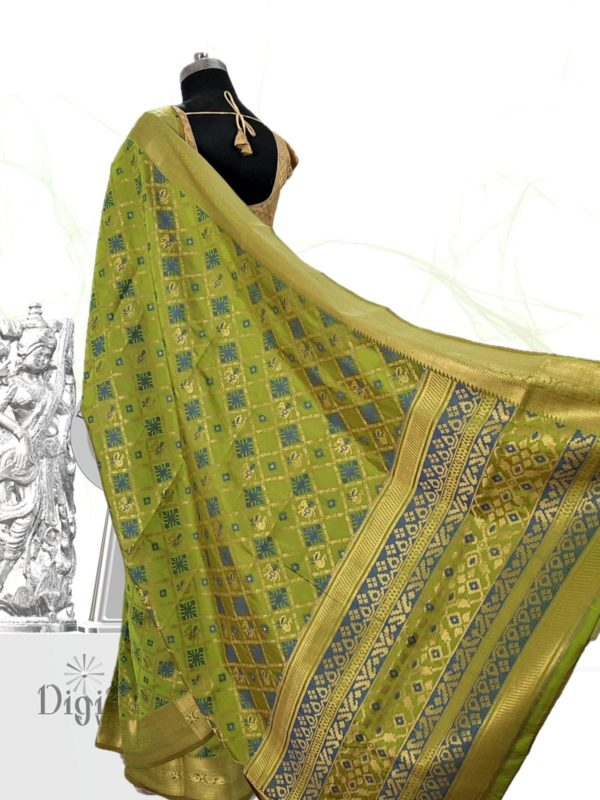 Handloom Patola Silk Saree in Citrus Green Colour by Digiloom Sarees 5