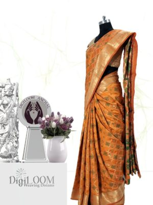 Handloom Patola Silk Saree in Kesariya Colour 2