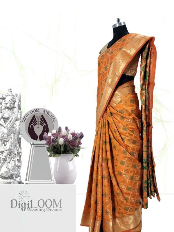 Handloom Patola Silk Saree in Kesariya Colour 2