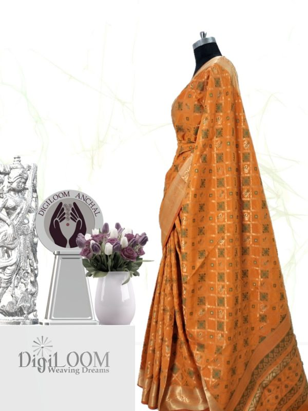 Handloom Patola Silk Saree in Kesariya Colour b