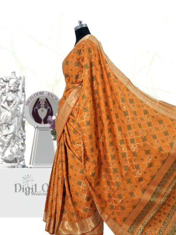 Handloom Patola Silk Saree in Kesariya Colour c