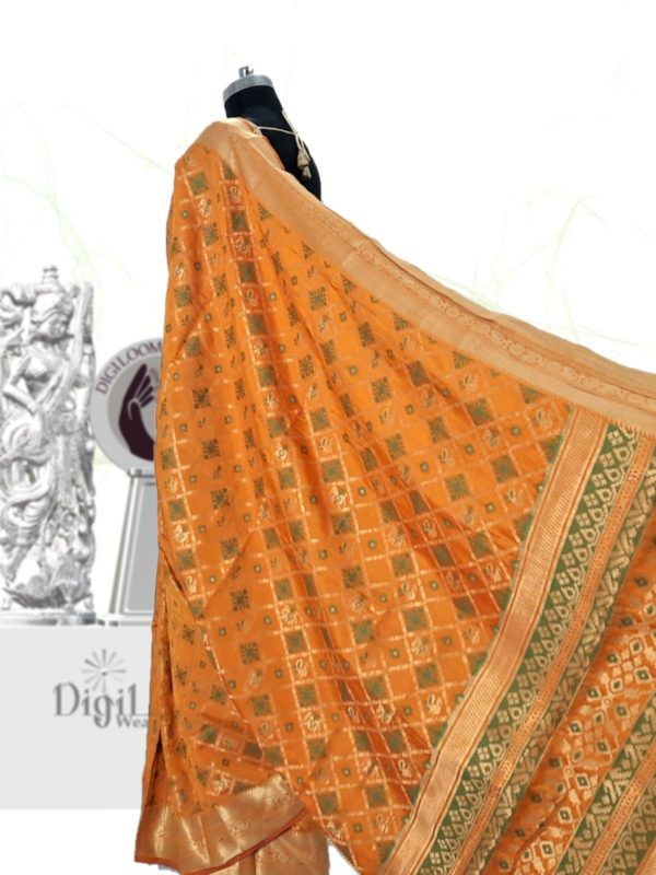 Handloom Patola Silk Saree in Kesariya Colour d