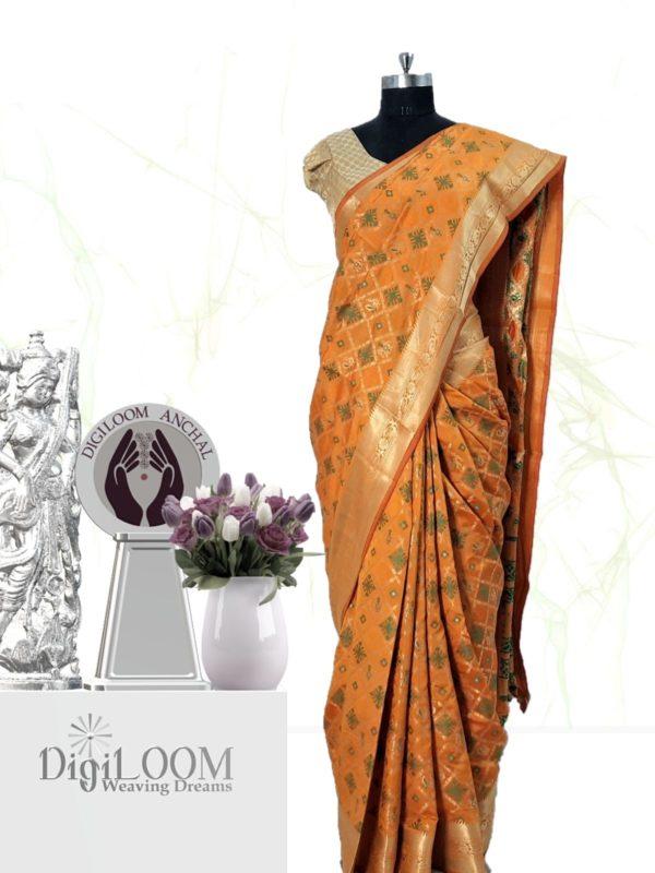 Handloom Patola Silk Saree in Kesariya Colour e