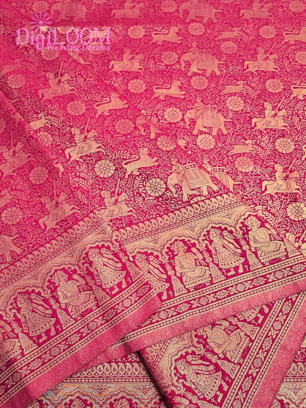 Shikargah Saree in Pure Handloom Malwari Silk in fuchsia pink colour 10