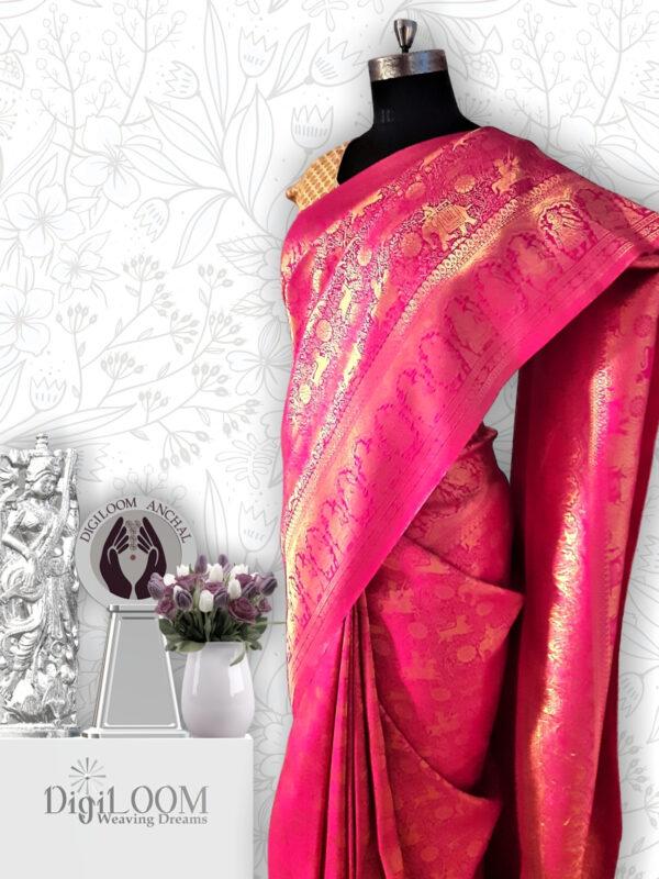 Shikargah Saree in Pure Handloom Malwari Silk in fuchsia pink colour 6