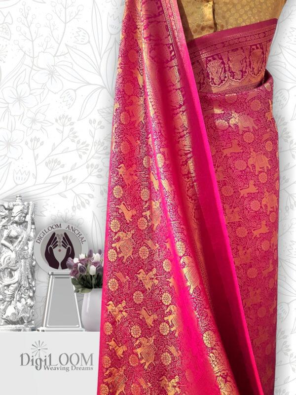 Shikargah Saree in Pure Handloom Malwari Silk in fuchsia pink colour