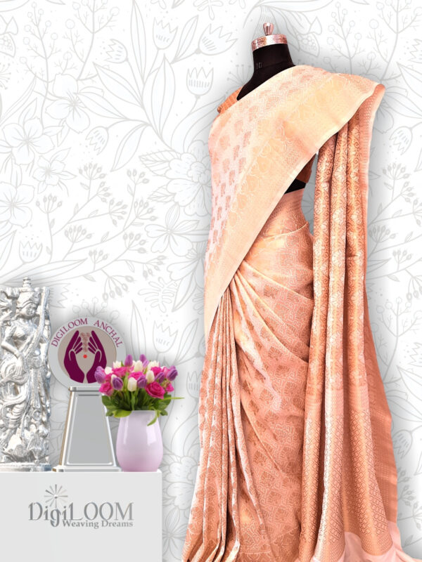 Timeless Handloom Malwari Saree in Off White and Gold Combination 4