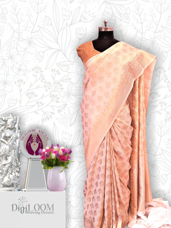 Timeless Handloom Malwari Saree in Off White and Gold Combination 5