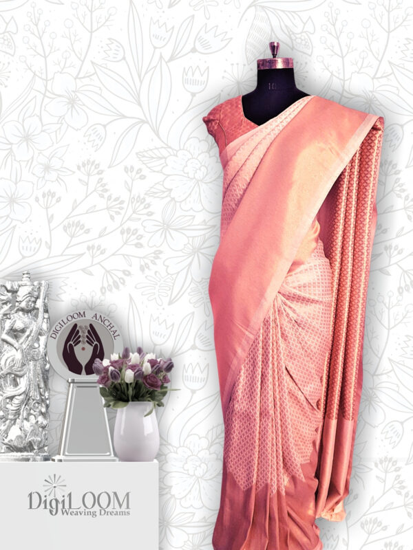 classic Handloom Malwari Saree in Off White and Gold Colour 3