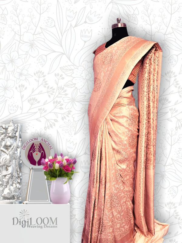 classic Handloom Malwari Saree in Off White and Gold Combination 3