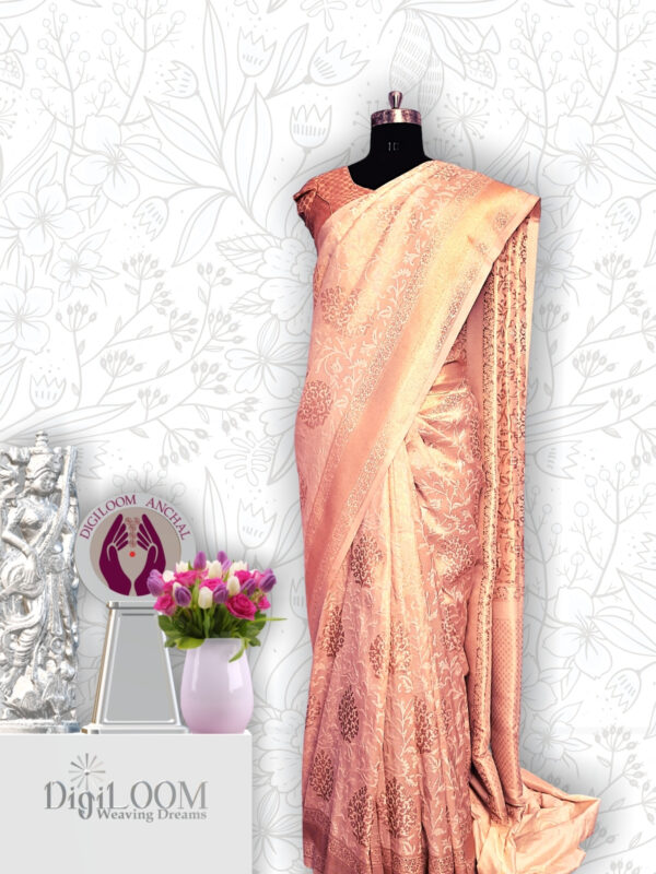classic Handloom Malwari Saree in Off White and Gold Combination 4