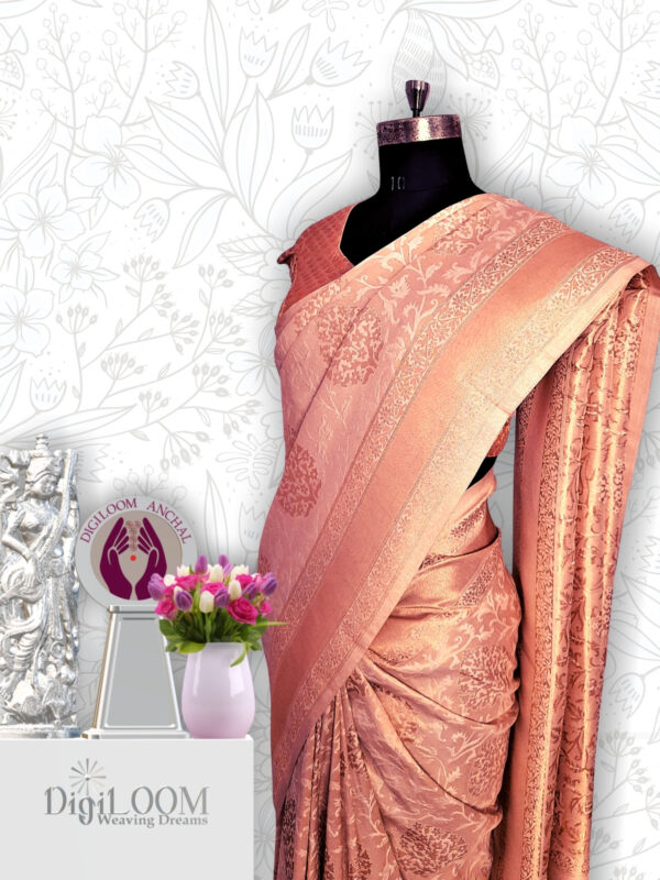 classic Handloom Malwari Saree in Off White and Gold Combination 5