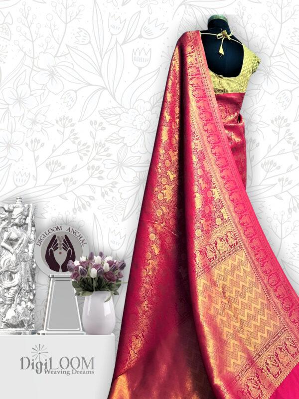 pink shikargah saree