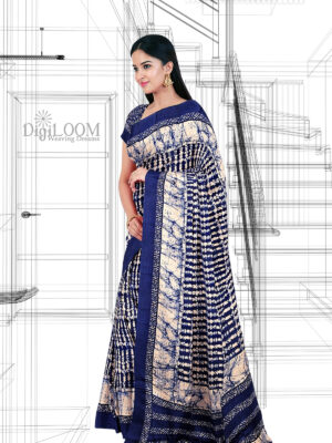 Blue Handloom Moonga Mulberry Silk Saree with Batik Prints - a1