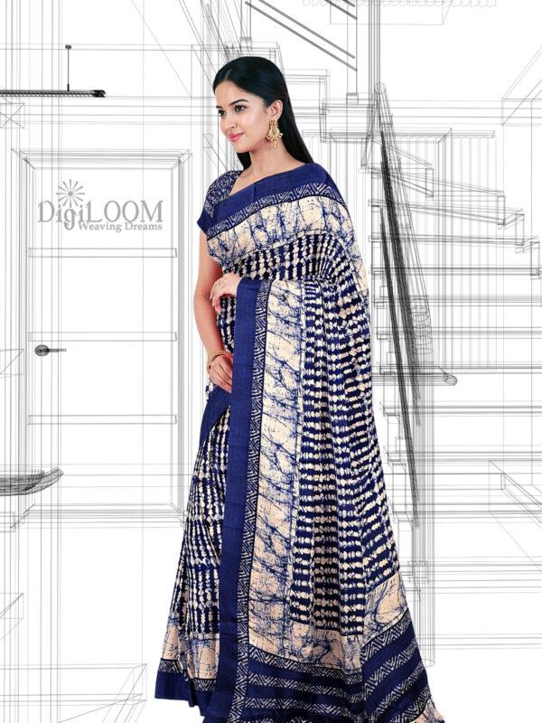 Blue Handloom Moonga Mulberry Silk Saree with Batik Prints - a1