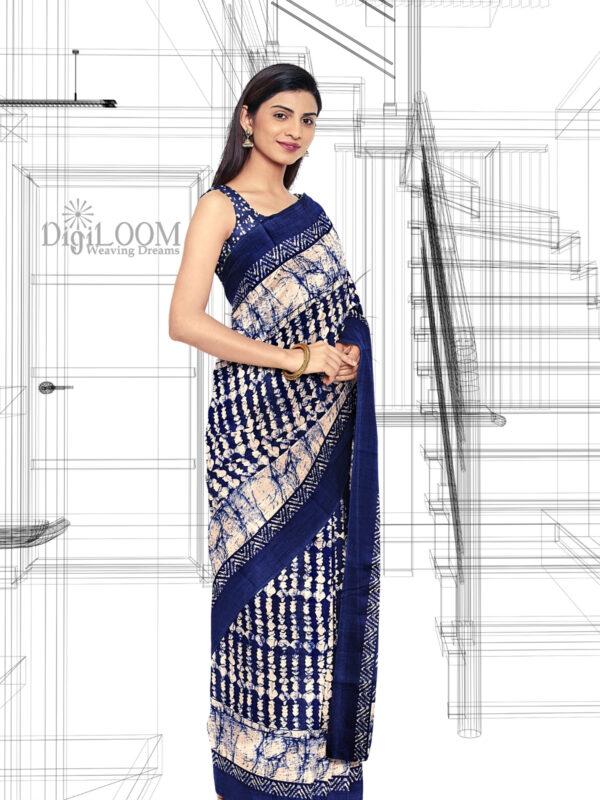 Blue Handloom Moonga Mulberry Silk Saree with Batik Prints - a2