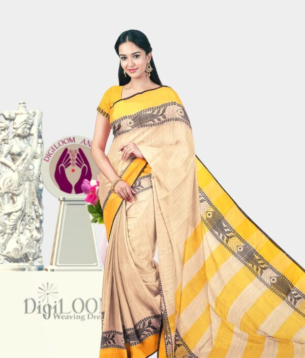 Digiloom Bengal Handloom Cotton Saree in Cream Colour with intricate fish motif 1