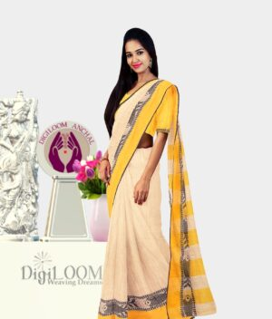 Digiloom Bengal Handloom Cotton Saree in Cream Colour with intricate fish motif 2