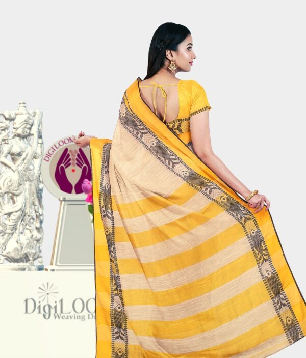 Digiloom Bengal Handloom Cotton Saree in Cream Colour with intricate fish motif 3