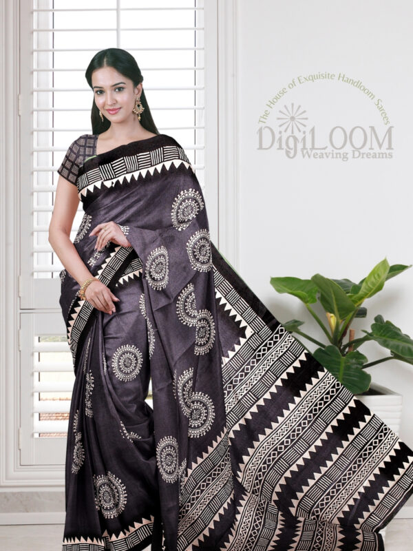 Grey Handloom Moonga Mulberry Silk Saree with Tribal Prints 1