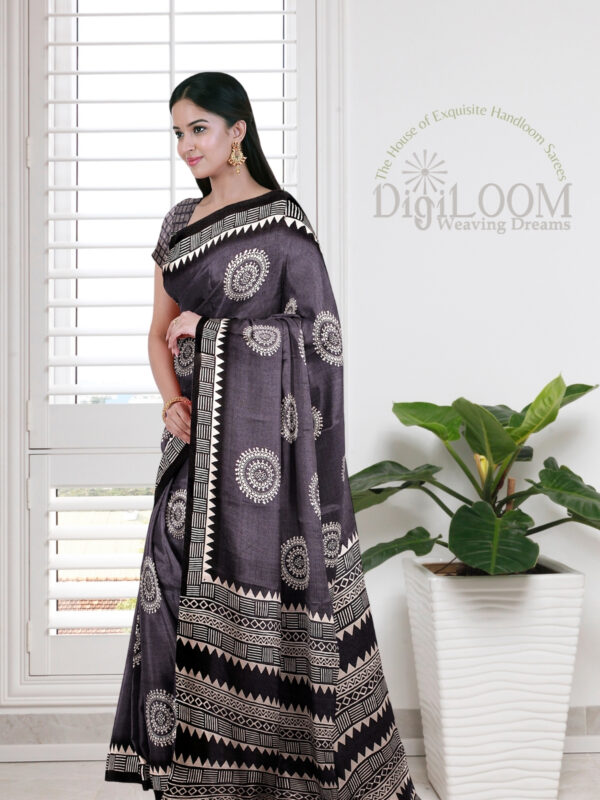 Grey Handloom Moonga Mulberry Silk Saree with Tribal Prints 4
