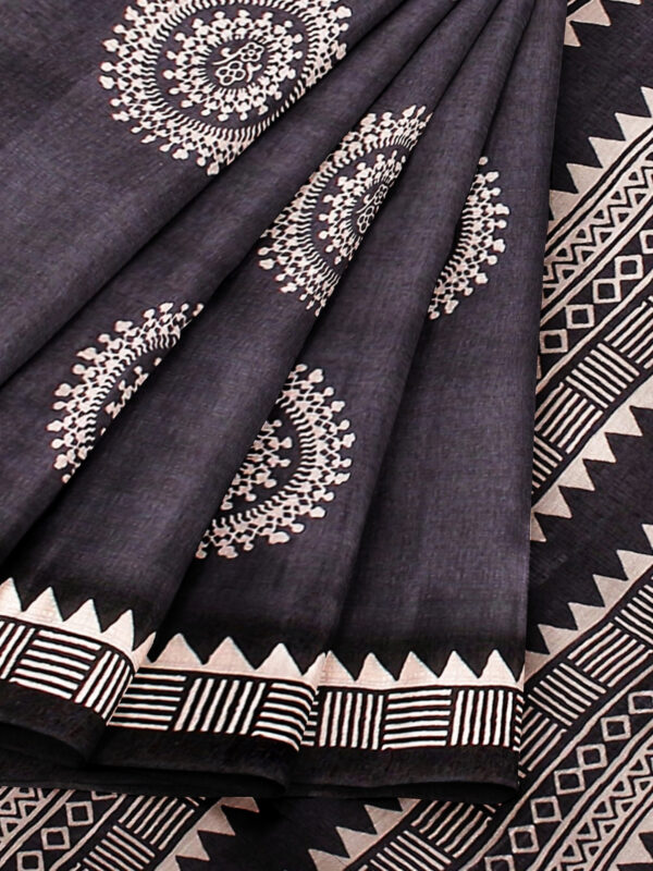 Grey Handloom Moonga Mulberry Silk Saree with Tribal Prints 5