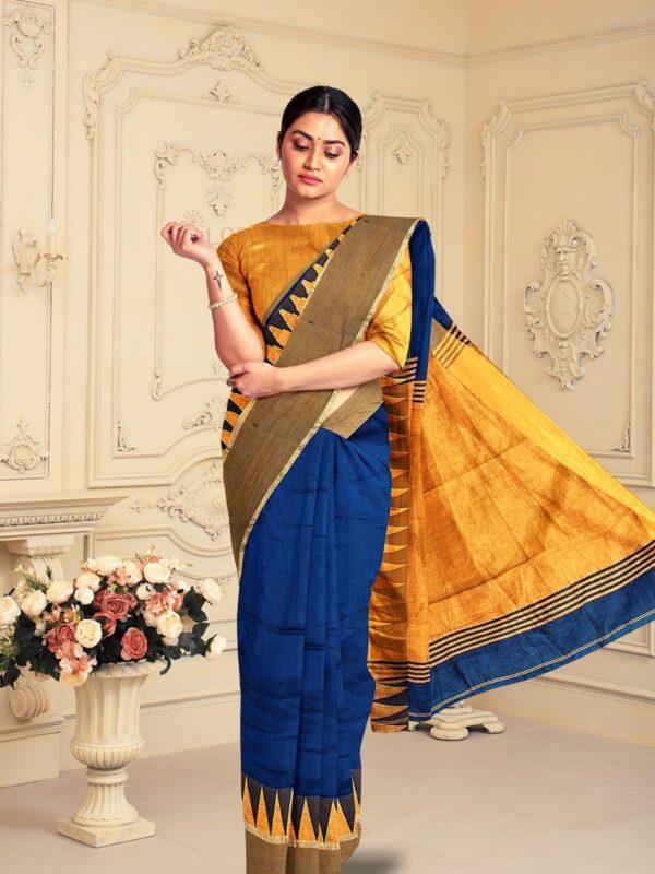 Handloom Bailu Silk Saree in Dark Cerulean Blue Colour 5