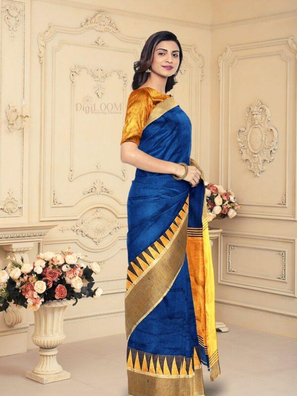 Handloom Bailu Silk Saree in Dark Cerulean Blue Colour 4