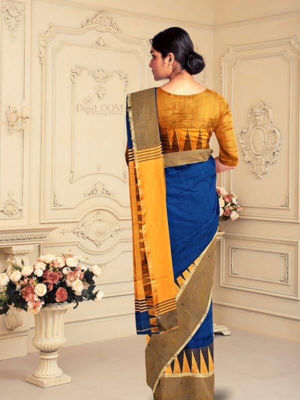 Handloom Bailu Silk Saree in Dark Cerulean Blue Colour 3