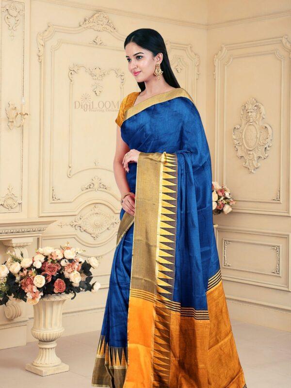 Handloom Bailu Silk Saree in Dark Cerulean Blue Colour 2