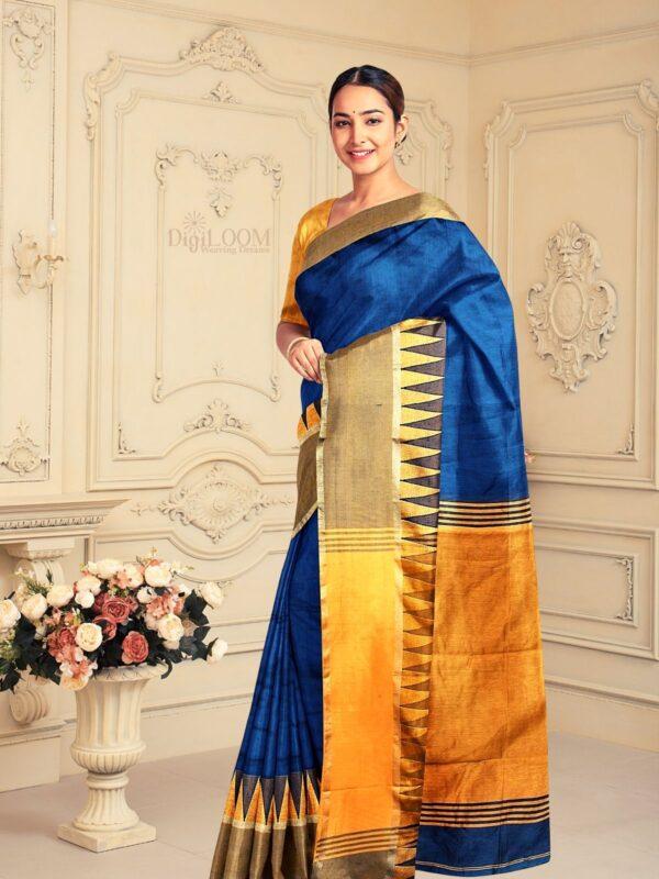 Handloom Bailu Silk Saree in Dark Cerulean Blue Colour 1