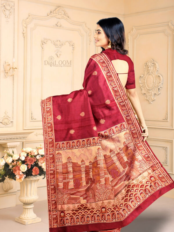 Handloom Malwari Silk Saree with Intricate Old Architecture Design Pallu 1