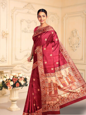 Handloom Malwari Silk Saree with Intricate Old Architecture Design Pallu 2