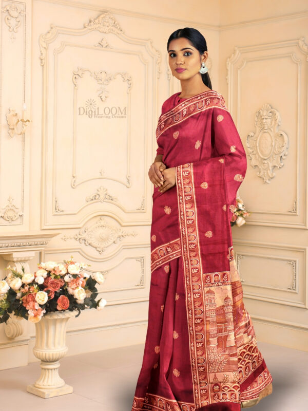 Handloom Malwari Silk Saree with Intricate Old Architecture Design Pallu 3